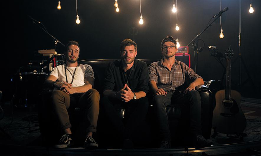 Brice, Jean-François et Valentin sur le plateau de tournage de la session Live Arcade Session